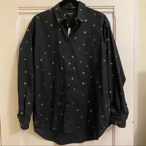 Madewell Black Button Up with Gold Printed Stars
